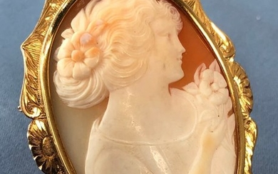 18 kt. Gold - Large pendant / brooch Cameo
