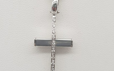 18 kt. White gold - Necklace with pendant - 0.06 ct Diamond
