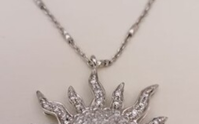 18 kt. White gold - Necklace with pendant - 1.40 ct Diamond