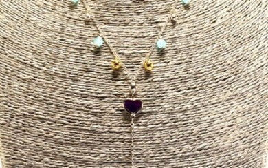 18 kt. White gold - Necklace with pendant - Aquamarine, Carnelian, Chalcedony