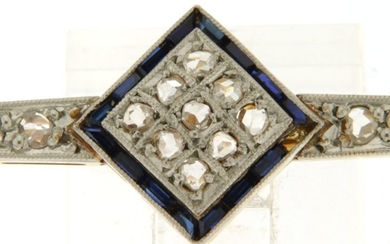 18 kt. White gold, Yellow gold - Brooch Diamond - Sapphires