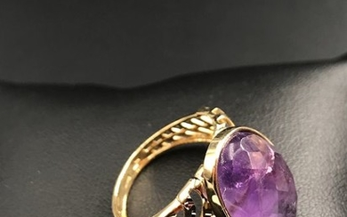 18 kt. White gold, Yellow gold - Ring - 3.00 ct Amethyst