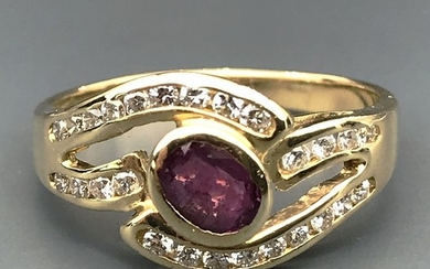 18 kt. Yellow gold - Ring - 1.50 ct Ruby - Diamonds