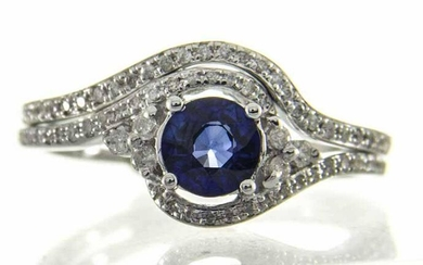 18K WHITE GOLD DIFFUSED BLUESAPHIRE & DIAMOND RING