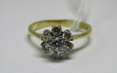 18ct YELLOW GOLD DIAMOND CLUSTER RING, 7 well matched brilli...