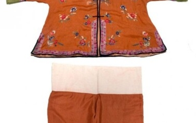 2 PC. COPPER CHINESE SILK ROBE AND PANTS