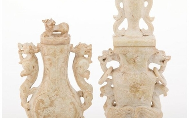 27191: Two Chinese Archaistic Carved Hardstone Covered