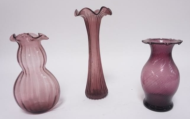 AMETHYST GLASS VASES, LOT OF 3