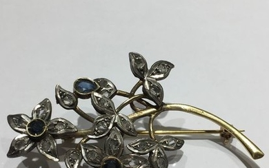18 kt. Gold, Silver - Brooch - 0,13 ct Diamond - Sapphires