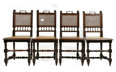 (4) Oak Chairs with Carved Lion Heads - Cane Seats