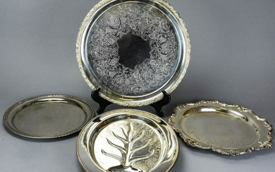 4 Silver Plate Serving Platters & Fish Plate