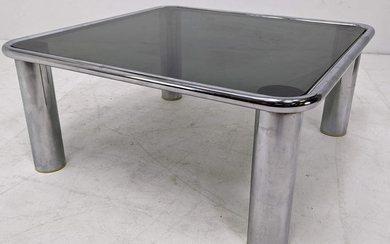 70s Modern Pace Style Table. Chrome & Smoked Glass Coff