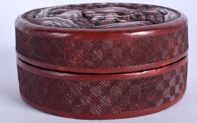 A 19TH CENTURY CHINESE CARVED CINNABAR LACQUER BOX AND