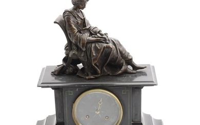 A 19th century French black marble and patinated bronze mantel clock, surmounted by memento mori figure of seated lady. H. 38 cm.