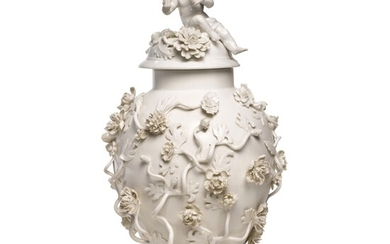 A Berlin (Wegely) white porcelain baluster vase and cover, 1751-7
