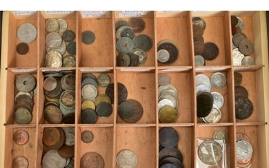 A CASE HOLDING TWO DRAWERS OF WORLD COINS to include much si...