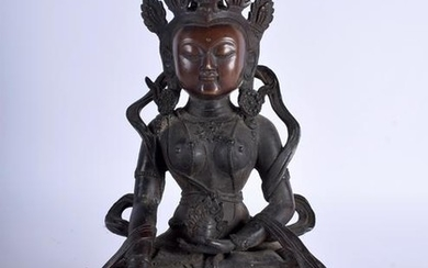 A CHINESE BRONZE BUDDHA OR STATUE, formed seated upon a