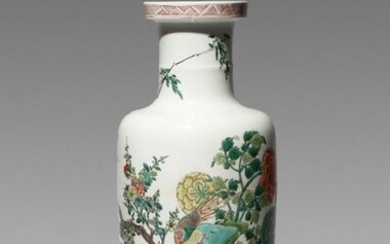 A CHINESE FAMILLE VERTE 'BIRDS AND FLOWERS' ROULEAU VASE KANGXI 1662-1722 Painted with a pheasant standing on rockwork amidst peony, prunus and other blossoming flowers, with six smaller birds in flight and perched amidst the blooms, the cylindrical...