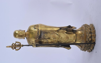 A CHINESE GILT BRONZE FIGURE OF A STANDING BUDDHA. 24