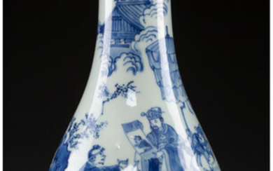 A Chinese Blue and White Porcelain Bottle Vase (Ming-Qing Transitional Period)