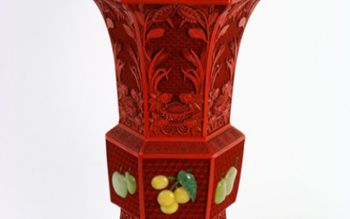 A Chinese Red Cinnabar Lacquer Gu-form Vase