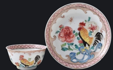 A Chinese famille rose tea bowl and saucer decorated with a cockerel - Porcelain - China - Yongzheng (1723-1735)
