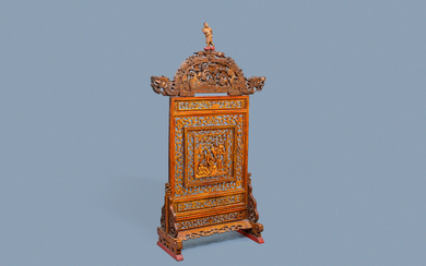 A Chinese gilt carved wood screen for the Straits or Peranakan market, 19th C.