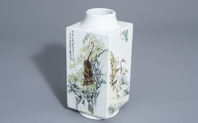 A Chinese qianjiang cai cong shaped vase with...