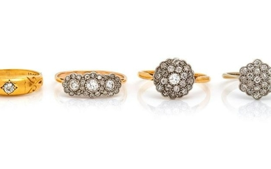 A Collection of Yellow Gold and Diamond Rings,
