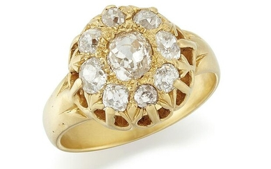 A DIAMOND CLUSTER RING, an old-cut diamond within a
