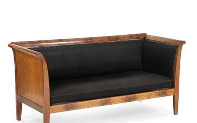 A Danish Empire style mahogany settee with horsehair cover. Late 19th century. L. 170 cm....