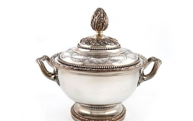 A French silver two-handled tureen and cover, by...