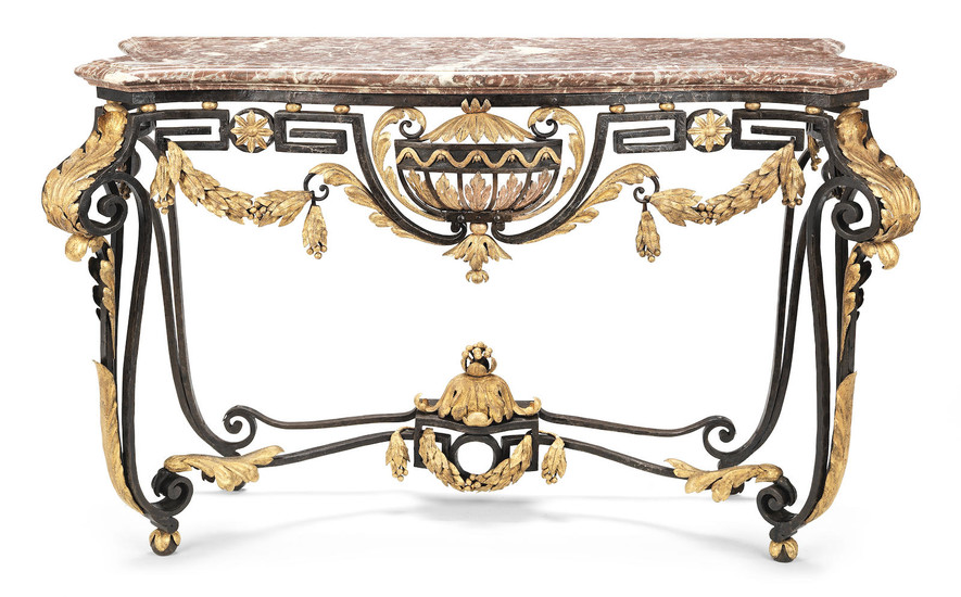 A French wrought-iron and parcel gilt console table
