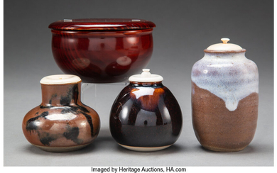 A Group of Three Japanese Ceramic Chaire and a Chinese Wood Box