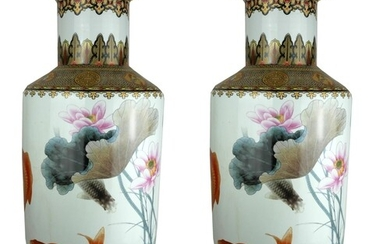 A LARGE PAIR OF CHINESE PORCELAIN VASES Hand painted decorat...
