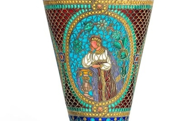 A LARGE PLIQUE-À-JOUR ENAMEL SILVER-GILT GOBLET, MARKED P. OVCHINNIKOV WITH IMPERIAL WARRANT, MOSCOW, CIRCA 1890