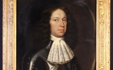 A Late 17th Century Oil on Canvas: Head & Shoulders Portrait of a Gentleman dressed in armour with a