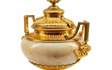 A Louis XVI Style Gilt-Bronze-Mounted Marble Urn Height
