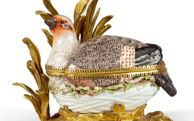 A MEISSEN PORCELAIN PARTRIDGE-FORM TURREN AND COVER, MOUNTED ON A ROCOCO GILT BRONZE BASE, EARLY 19TH CENTURY
