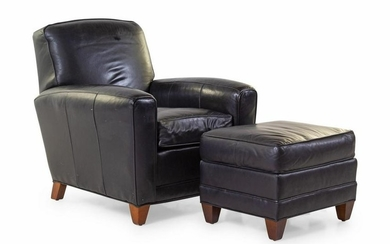 A Modern Leather Upholstered Club Chair and Ottoman