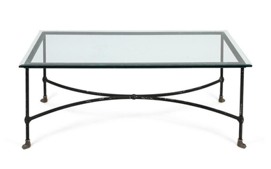 A Modern Painted Metal Glass Top Paw-Foot Low Table