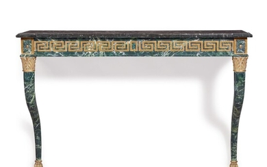 A NEOCLASSICAL STYLE PAINTED AND PARCEL GILT CONSOLE TABLE