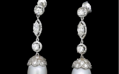 A PAIR OF CULTURED PEARL AND DIAMOND DROP EARRINGS, Each art...