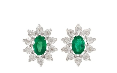 A PAIR OF DIAMOND AND EMERALD OVAL CLUSTER EARRINGS, mounted...