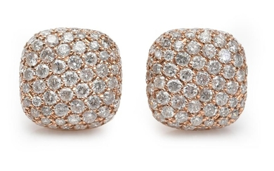 A PAIR OF DIAMOND EARRINGS-Each cushion shaped plaque, pavé set with round brilliant cut diamonds totalling 1.83cts, to post and but...