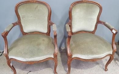 A PAIR OF LOUIS STYLE ARMCHAIRS