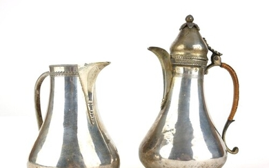 A PERSIAN TURKISH SILVER COFFEE POT Along with a Turkish sil...