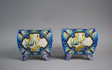 A Pair of French Longwy Faience Vases of Squat Square Form o...