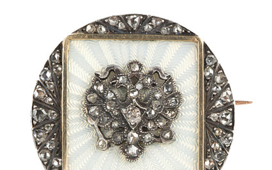 A RUSSIAN GOLD, GUILLOCHE ENAMEL AND DIAMOND BROOCH, ST. PETERSBURG, 1908-1917