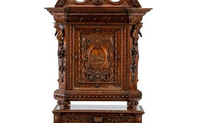 A Renaissance Revival Walnut Cabinet on Stand
